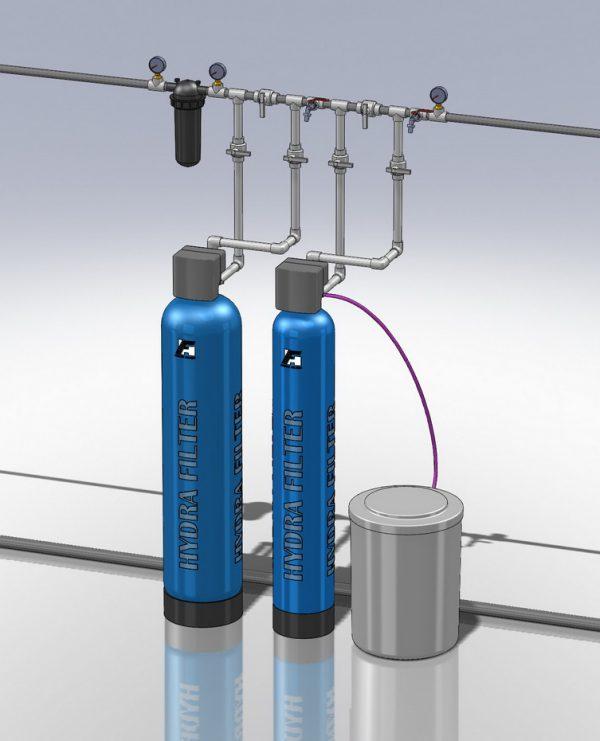 Водоподготовка для коттеджа # 17. 2500 л/час (3-5 открытых крана) Растворенное железо до 6 мг/л
